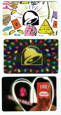 TACO BELL Gift Cards - LOT of 3 - Christmas Lenticular - Collectible - No Value