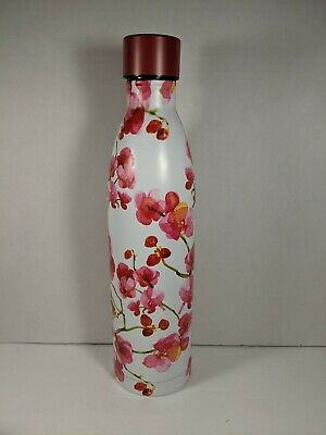 """Serene Large Stainless Steel Water Pink Red Cherry Blossom Water Bottle 12"""" tall"""
