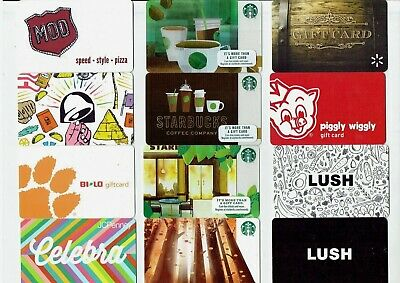 Collectible Gift Card - YOU CHOOSE 3 for $1.59 - STARBUCKS, Taco Bell, Lush, PIG