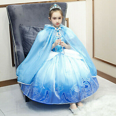 Luxury Cinderella Cloak Cosplay Princess Costume Child Halloween Dress Ball Gown