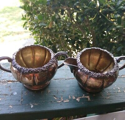 Vintage Fb.rogers Silver On Copper Creamer  And Sugar Bowl Rose Rim