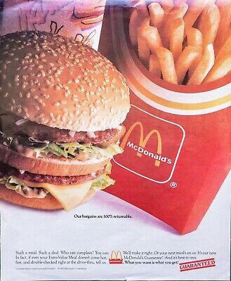 "RARE! 1992 McDONALD'S BIG MAC FRIES EXTRA VALUE MEAL COLOR PRINT AD 10"" x 12"""