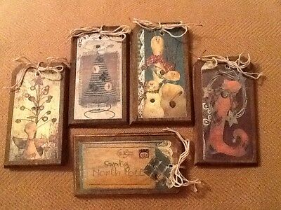 5 Wooden PRIM Christmas Ornaments/Gift Tags/HangTags/ORNIES HandCrafted SET30