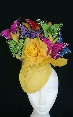 Yellow Hot Pink Blue Purple Flower Butterflies Bow Hat Silk Fascinator Races