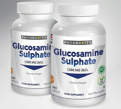 Glucosamine Sulphate 1500mg Max Strength 2KCl 2 x 240 Tablets Futurevits Made UK