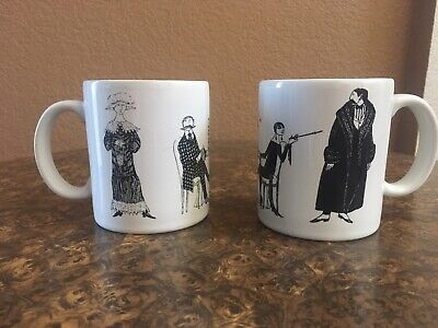 Set of 2 PBS Mystery Coffee Mug Cup Black White Poison Wine