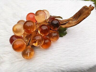 Vintage Mid Century Groovy Peach Colored Acrylic Lucite Grapes Decor