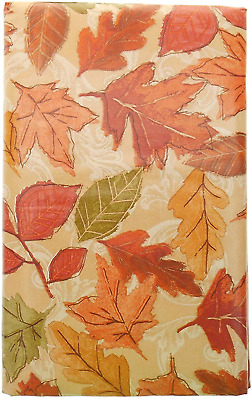Bountiful Harvest Shades of Orange Fall Leaves Vinyl Tablecloth with Flannel 52""