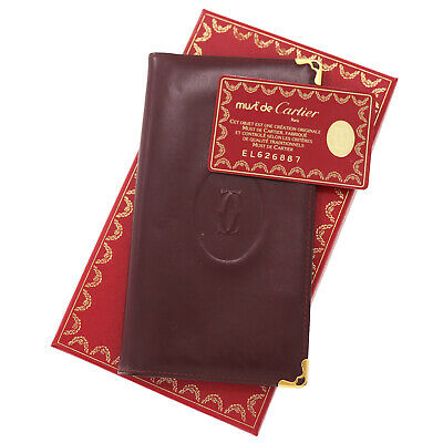 Cartier Logos Must Line Long Wallet Bordeaux Leather Vintage Italy Auth #BB755 M