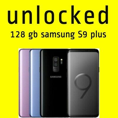 SAMSUNG GALAXY S9 Plus + 128 GB Android Mobile Phone Unlocked SIM Black Color