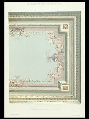 French Louis Xvi Style, Bedroom Decor - 1900 - Color Lithograph