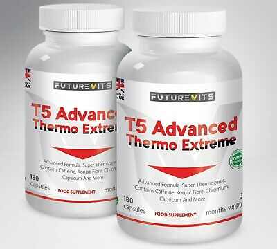 T5 Fat Burners Strongest Advanced Thermogenic Capsules Weight Loss Pills 2 x 180