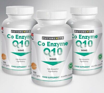 Q10 Capsules 100mg 3 x 120 Bottle Coenzyme Q10 Made In UK Futurevits Softgels