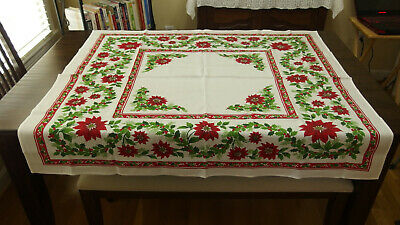 """50"""" x 45"""" VTG Topper/Tablecloth w/Christmas Red Flowers/Lots of Greenery, PREOWN"""