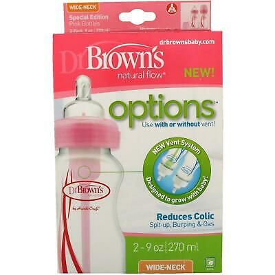 Dr Brown's Options Anti-Colic Bottles, Pink, 270ml, Pack of 2