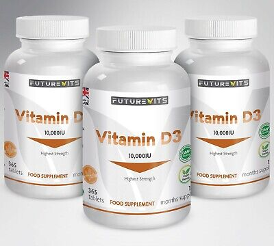 Vitamin D3 10000iu High Strength 10,000iu 3 x 365 Bottles Tablets Vit D Tabs UK