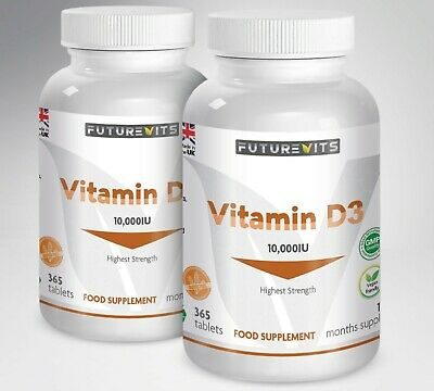 Vitamin D3 10000iu High Strength 10,000iu 730 Tablets/Capsules Vit D Tabs UK