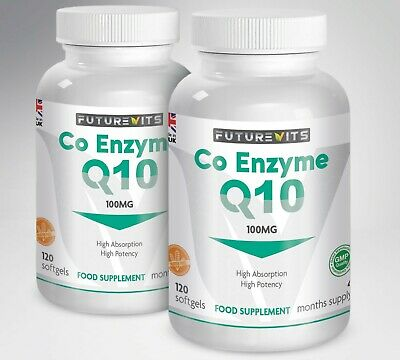 CoQ10 100mg 2 x 120 Bottle Coenzyme Q-10 Capsules Made In UK Futurevits Gluten