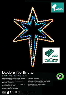 Christmas Outdoor Double North Star Rope Light Decoration W/ Multi Function 1012