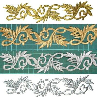 Silver / Gold Applique Trim Iron On Embroidery for Tutu Dance Stage Costume #107