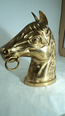 Vintage Heavy Polished solid brass Horse Head Bust