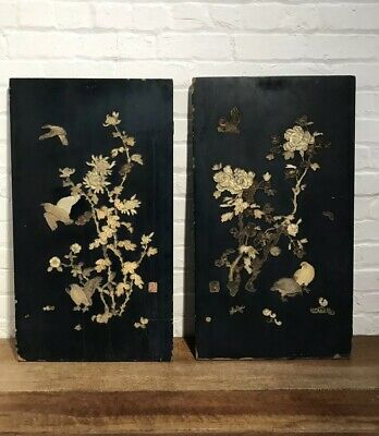 C19th Japanese Lacquered Inlaid Panels Antique Decorative Wall Bohemian Chic