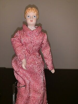 Antique Bisque Doll Molded Hair Painted Blue Eyes Cloth Body Vintage 15in