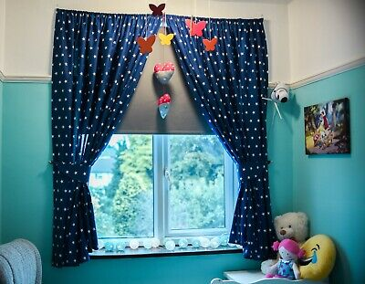 Stars Grey Curtains Nursery Baby Room Tab Top