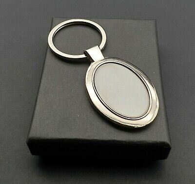 Stylish Two Tone Oval Chrome Keyring 2 Designs ONE ENGRAVING INCLUDED