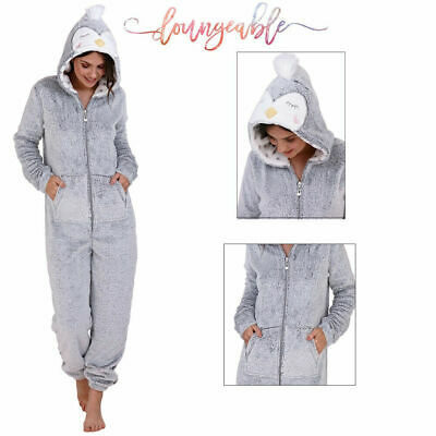 Loungeable Womens Duckling Animal All In One Ladies Novelty 3D Hooded Sleepsuit