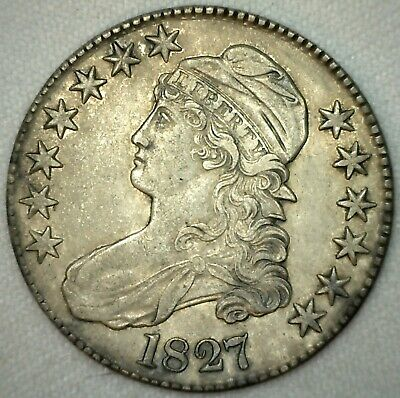 1827 Capped Bust Silver Half Dollar Coin Lettered Edge Square Base 2 Variety AU