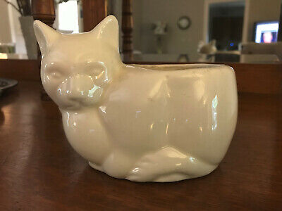 Vintage White Pottery Figural CAT PLANTER, unmarked