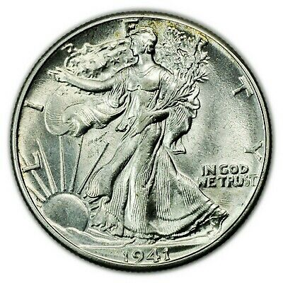 1941 Walking Liberty Half Dollar, About UNC Silver Coin [4514.04]