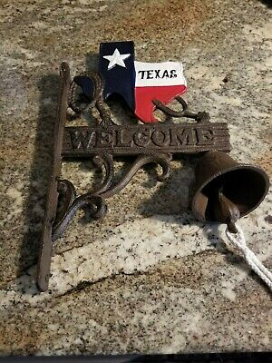 Texas Bell Welcome Dinner & Door Wall Mount  Cast Iron Rustic Old Fashion