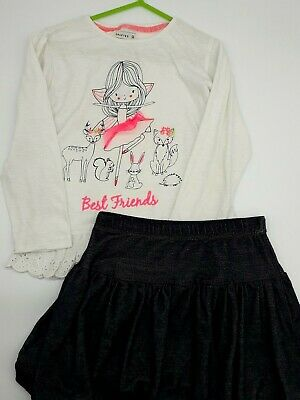 Girls Clothes 5-6 Years Outfit Crafted Cotton Embroidered Top Puffball Skirt