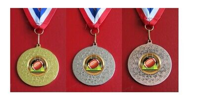 M1586G 50mm Gold  Multi Star Football medal with FREE medal ribbon