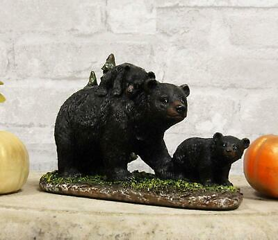 """Ebros 7.75"""" Long Black Momma Bear Piggybacking Her Cub by A Pine Tree Statue"""