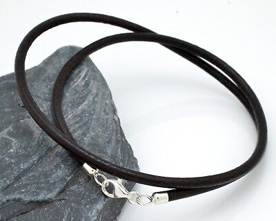 Dark Brown Leather with Sterling Silver Double Wrapped Bracelet Handmade in UK