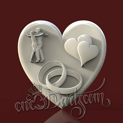 3D Model STL for CNC Router Artcam Aspire Anniversary Wedding Heart Cut3D Vcarve