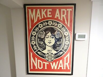 SIGNED - OBEY Shepard Fairey MAKE ART NOT WAR LOVE Print Poster Giant 24X36 KAWS