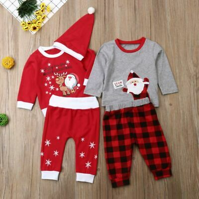 3PCs Set Kids Baby Girl Boy My 1st Christmas Romper T Shirt Pant Hat Xmas Outfit