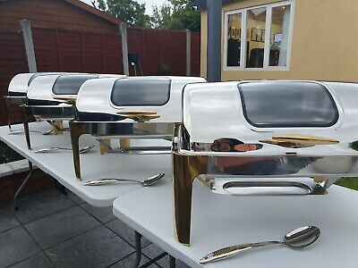 ***For Hire Only**9L Roll Top Chafing Dish With Window & Gold Handle -