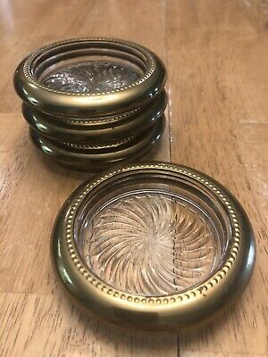 Set of 4!!  Vintage Brass Plate CUT GLASS Coasters BEAUTIFUL - FAST SHIPPING!!