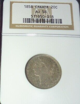 1858 Canada 20 Cents Silver Coin Ngc Au58