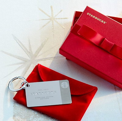 NIB Starbucks STERLING SILVER Gift Card KEY CHAIN with BOX Reloadable
