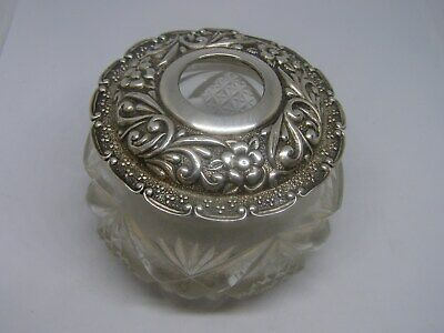 Antique Victorian English Cut Crystal and Sterling Silver Hair Receiver Engraved