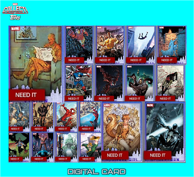 2019 HEROES OF NEW YORK BLUE SET OF 19 CARDS Topps Marvel Collect Digital