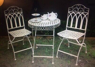 French Chic 3 Piece Patio Bistro Setting 2 Folding Chairs Table Brand New Boxed