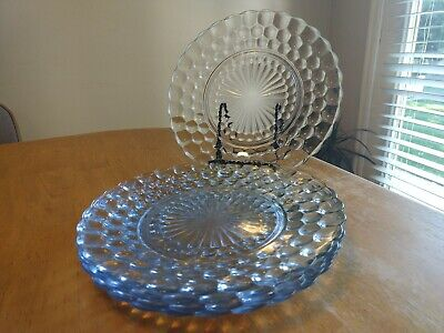 Anchor Hocking Bubble Sapphire Blue Depression Glass Dinner Plates. Set Of 5