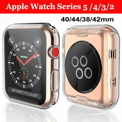 For Apple Watch Series 5 4 3 2 Full Cover TPU Case iWatch Screen Protector 44/40